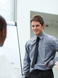 Handsome businessman in a presenatation Stock Photo