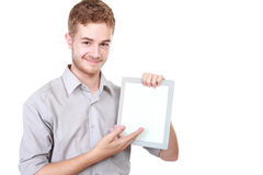 Handsome businessman presenting using blank tablet pc Royalty Free Stock Images