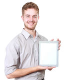 Handsome businessman presenting using blank tablet pc Royalty Free Stock Photos