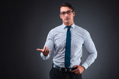 The handsome businessman pressing virtual buttons Stock Photos