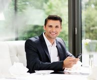 Handsome businessman in restaurant Royalty Free Stock Images