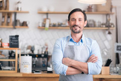 Handsome businessman showing his business Royalty Free Stock Photos