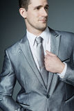 Handsome businessman in silver suit. Stock Photography