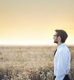 Handsome  businessman staring at the sunset Royalty Free Stock Photos