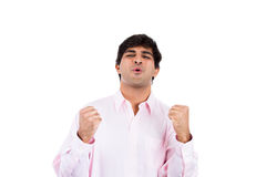 Handsome businessman or student winning and arms and fists pumped Royalty Free Stock Photo