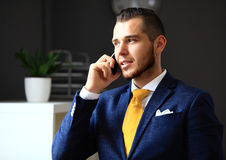 Handsome businessman in suit speaking on the phone Royalty Free Stock Photos