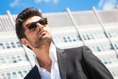 Handsome businessman with sunglasses Royalty Free Stock Photography