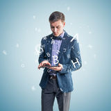 Handsome businessman text message email sms on Royalty Free Stock Images
