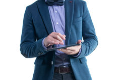 Handsome businessman text message email sms on Stock Photography