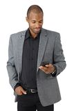 Handsome businessman texting royalty free stock images