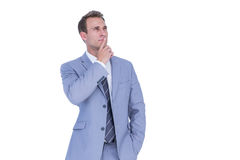 Handsome businessman thinking with finger on chin Stock Photos
