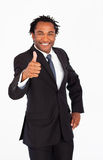 Handsome businessman with thumb up Stock Photography