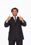 Handsome businessman with thumbs up Royalty Free Stock Photography
