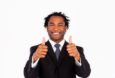 Handsome businessman with thumbs up Stock Image