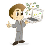 Handsome businessman using a laptop for make money Royalty Free Stock Photo