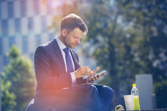 Handsome businessman using mobile phone with food and drink on table Royalty Free Stock Photo
