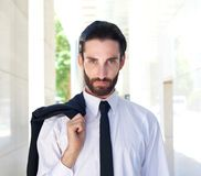 Handsome businessman with white shirt and black tie Royalty Free Stock Images
