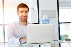 Handsome businessman working at computer Royalty Free Stock Photos