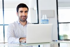 Handsome businessman working at computer Stock Photography