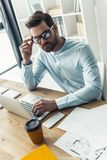 Handsome businessman working Stock Photography
