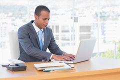 Handsome businessman working at his laptop Stock Photos