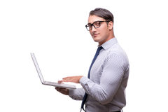 Handsome businessman working with laptop computer isolated on wh Royalty Free Stock Photo