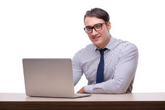 Handsome businessman working with laptop computer isolated on wh Royalty Free Stock Images