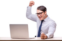 Handsome businessman working with laptop computer isolated on wh Stock Image