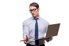 Handsome businessman working with laptop computer isolated on wh Stock Photo