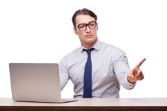 Handsome businessman working with laptop computer isolated on wh Royalty Free Stock Photos