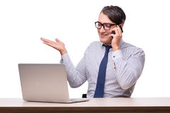 Handsome businessman working with laptop computer  on wh Stock Image