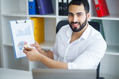 Handsome Businessman Working on Laptop at His Office.  Royalty Free Stock Photos