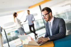 Handsome businessman working on laptop in office. Handsome businessman working on laptop in modern office stock image