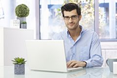 Handsome businessman working on laptop Stock Images