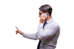 The handsome businessman working with mobile phone isolated on white Royalty Free Stock Images