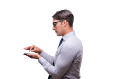 The handsome businessman working with mobile phone isolated on white. Handsome businessman working with mobile phone isolated on white Stock Photo