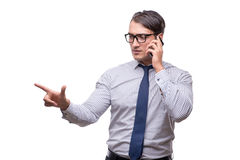 The handsome businessman working with mobile phone isolated on white Royalty Free Stock Image