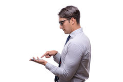 The handsome businessman working with mobile phone  on white. Handsome businessman working with mobile phone  on white Stock Images