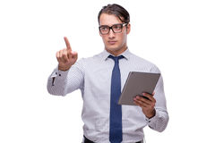 Handsome businessman working with tablet computer isolated on wh Stock Photography