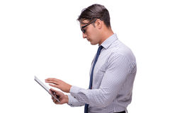 Handsome businessman working with tablet computer isolated on wh Royalty Free Stock Photos
