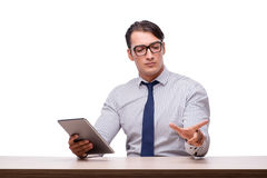 Handsome businessman working with tablet computer isolated on wh Royalty Free Stock Image