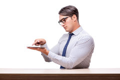 Handsome businessman working with tablet computer isolated on wh Royalty Free Stock Photo