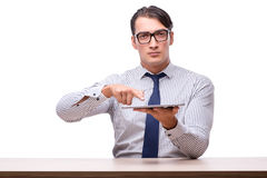 Handsome businessman working with tablet computer isolated on wh Royalty Free Stock Images