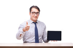 Handsome businessman working with tablet computer isolated on wh. Ite Royalty Free Stock Photo