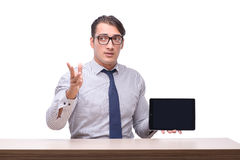 Handsome businessman working with tablet computer isolated on wh Stock Images