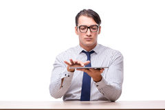 Handsome businessman working with tablet computer isolated on wh Royalty Free Stock Photography