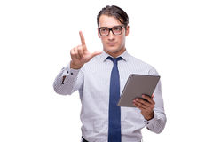 Handsome businessman working with tablet computer isolated. On white Stock Photos