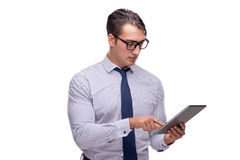 Handsome businessman working with tablet computer isolated. On white Stock Image