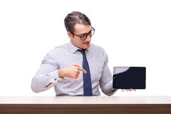 Handsome businessman working with tablet computer isolated. On white Royalty Free Stock Images