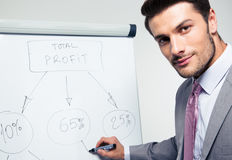 Handsome businessman writing on a flipchart Royalty Free Stock Photography